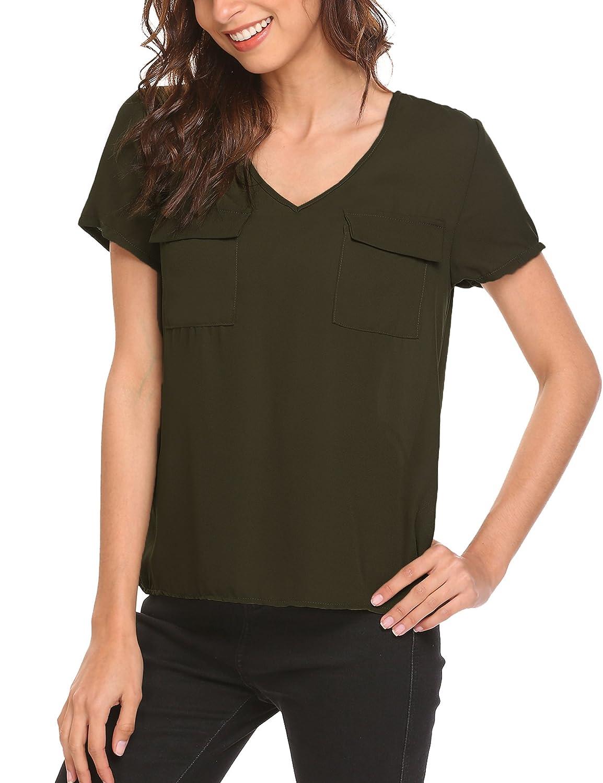 421d0eb2faee94 Finejo Women s Chiffon Blouse V-Neck Short Sleeve High Low Top Shirts at  Amazon Women s Clothing store
