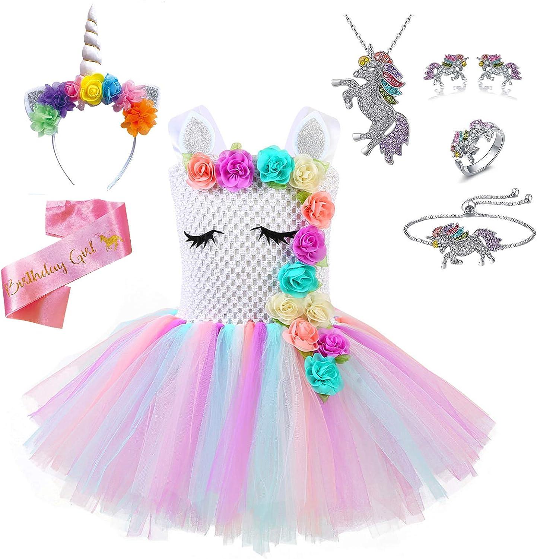 and Satin Sash Headband Jewelry Unicorn Costume Rainbow Unicorn Outfit for Girls