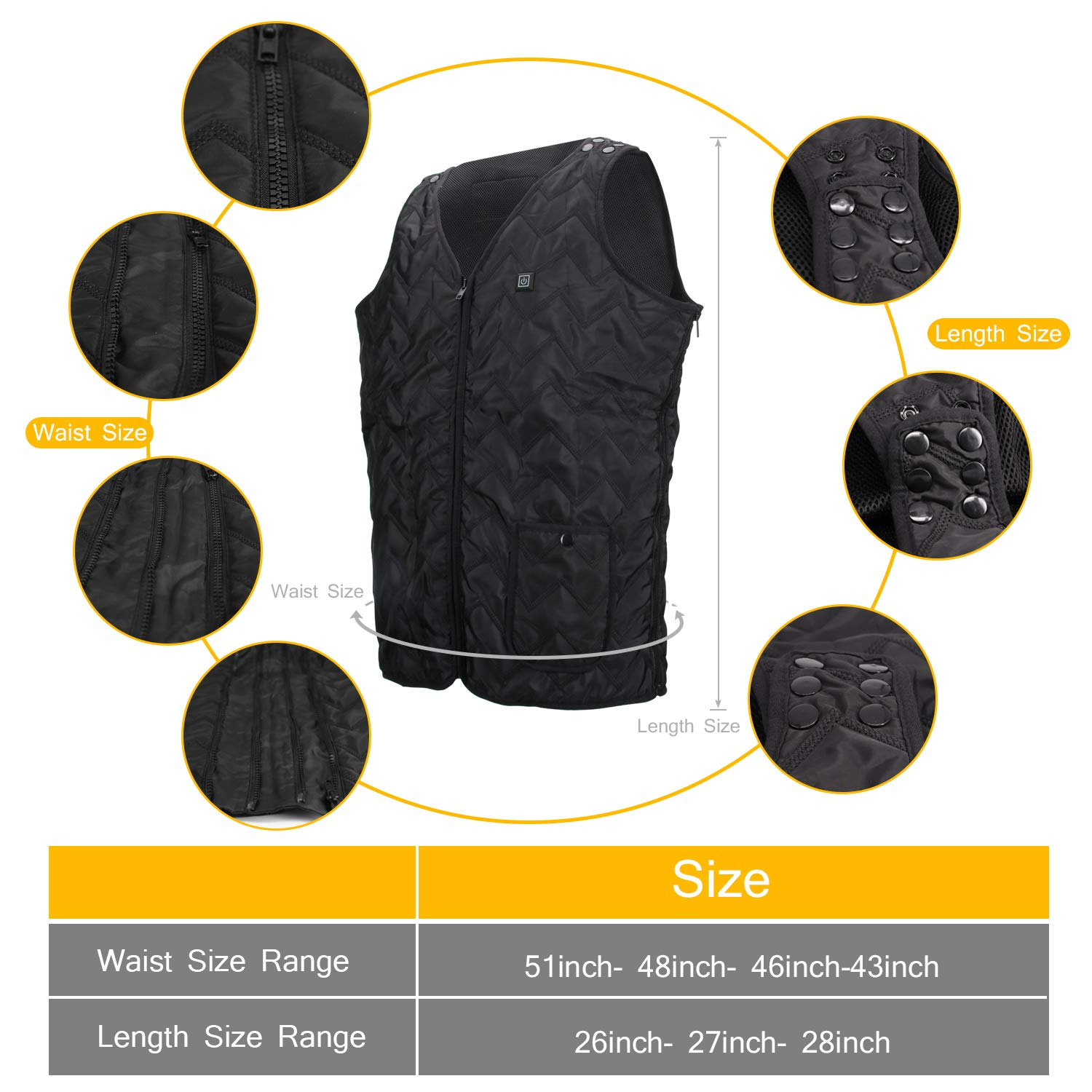 5V USB Charging Electric Heated Warm Vest Size Adjustable for Outdoor Camping Hiking Black