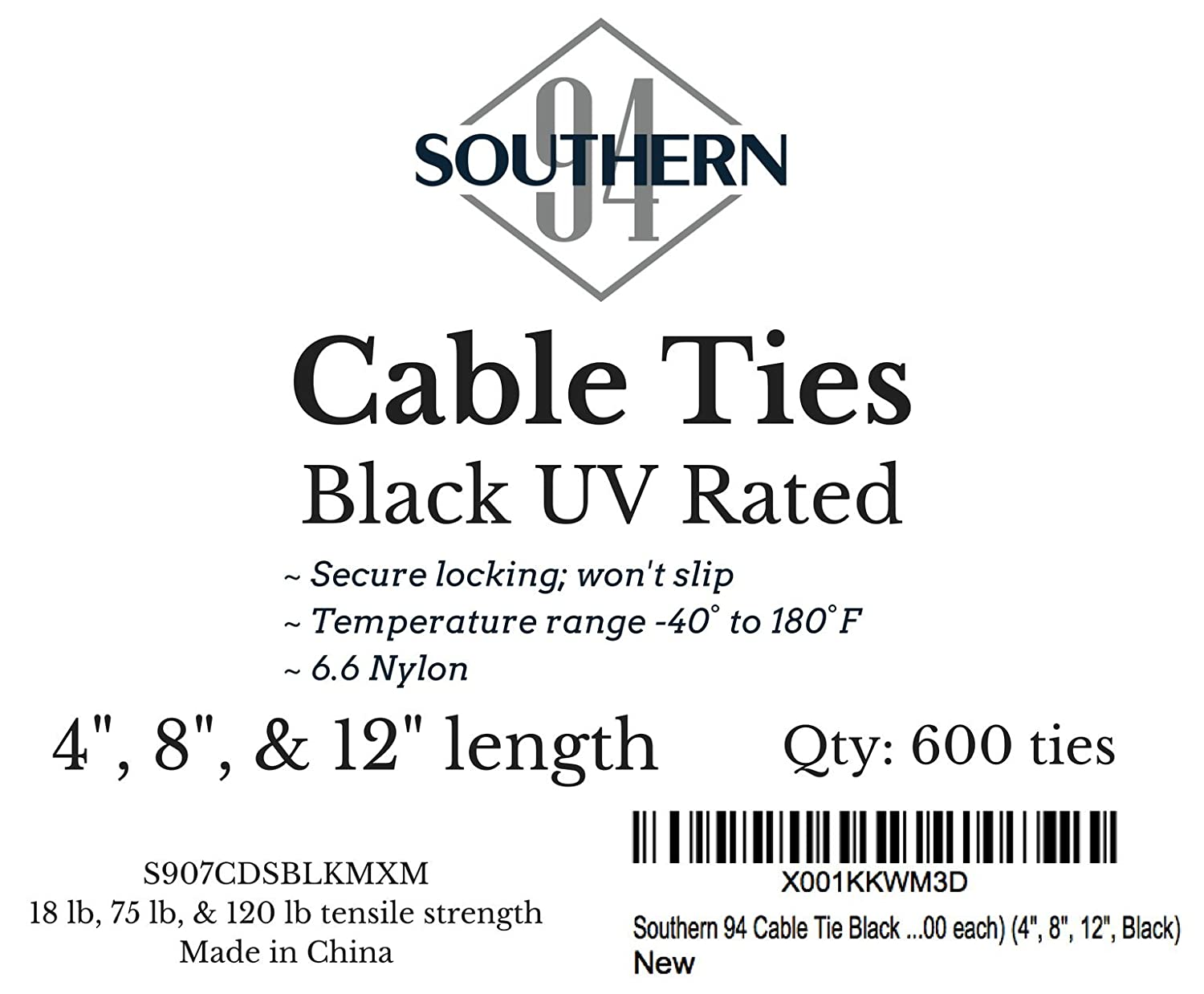 4 8 And 12 Inch Zip Ties 200 Of Each 600 Count Black Lb75 Wiring Diagram Uv Resistant Nylon Cable For All Your Electrical Wire Diy Tie Wrap