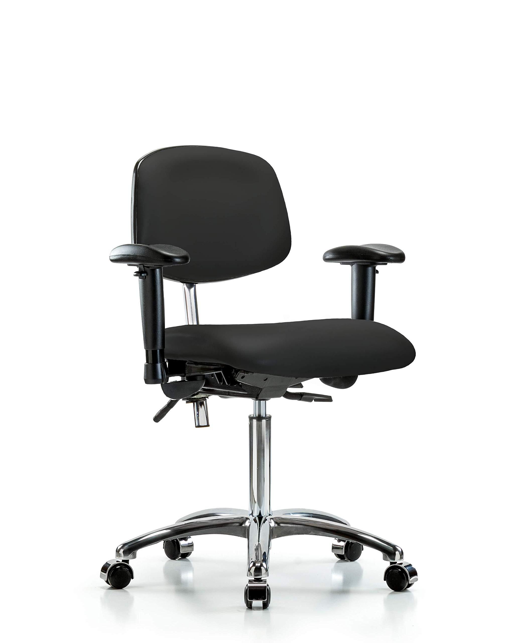 LabTech Seating LT43336 Class 100 Clean Room Vinyl Medium Bench Chair Chrome Base, Tilt, Arms, Chrome Casters, Black