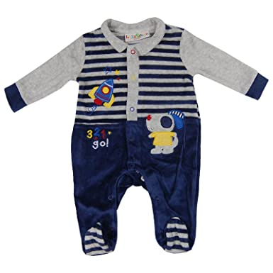 5805c9378 Jack and Lily Baby Boys Velour Collared Romper Sleepsuit Babygrow ...