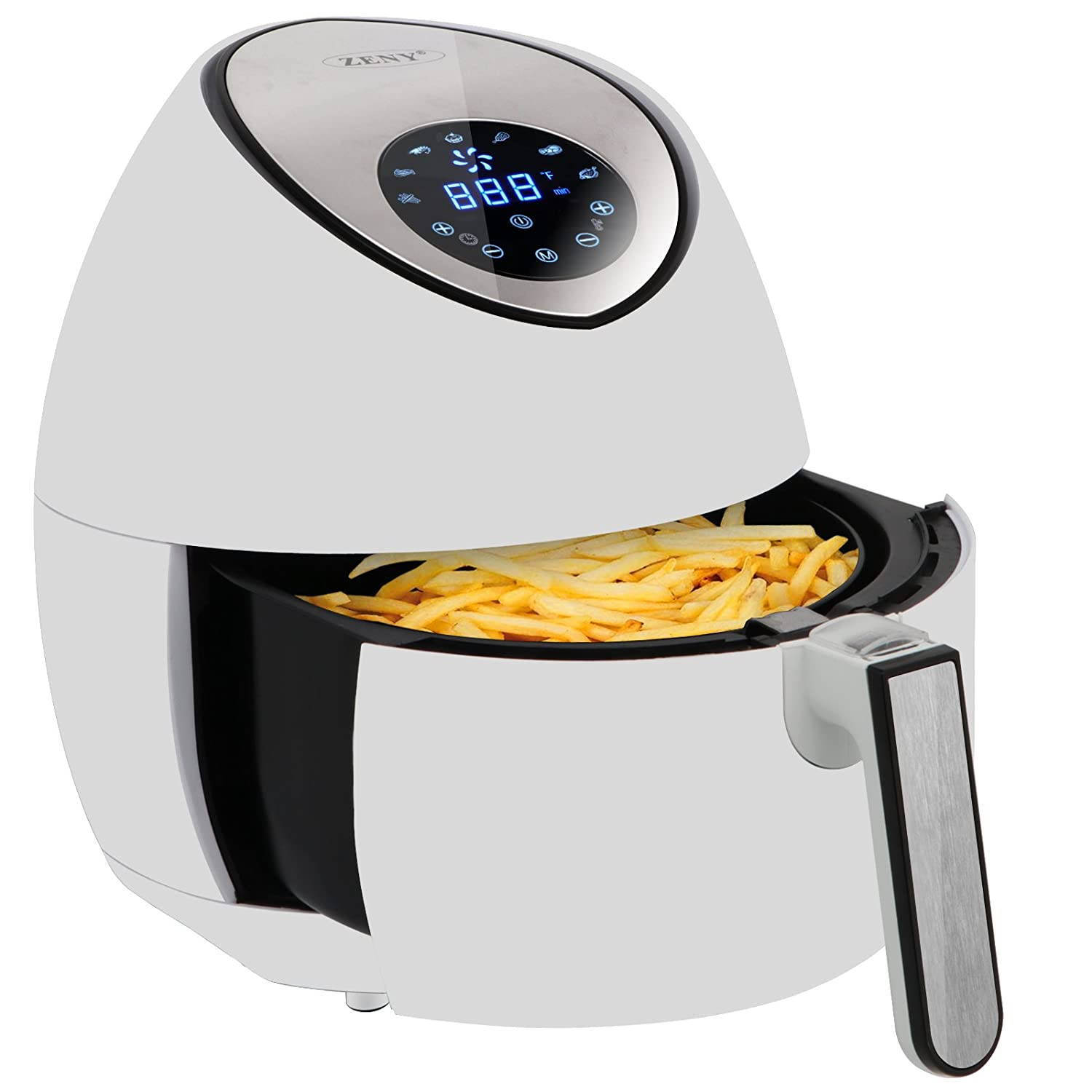 ZENY 3.7 Quarts 7-in-1 Electric Air Fryer Touch Screen Control Programmable, 7 Cooking Presets for Healthy Oil Free Cooking, w/Recipe Book and Dishwasher Safe Parts (Black)