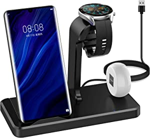 HATALKIN 3 in 1 Wireless Charging Station Compatible with Huawei Watch Phone/Samsung/iPhone Wireless Charger for Huawei Watch GT 2 2E/Honor Magic Watch 2 GS/P40 P30 Pro/Mate 30 20 Pro/FreeBuds 3 Pro