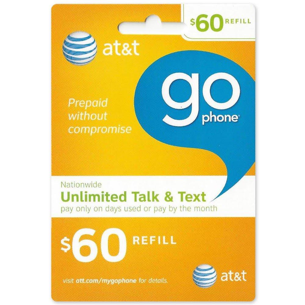 $60 AT&T Go Phone Refill Card FBW-RC-ATT60