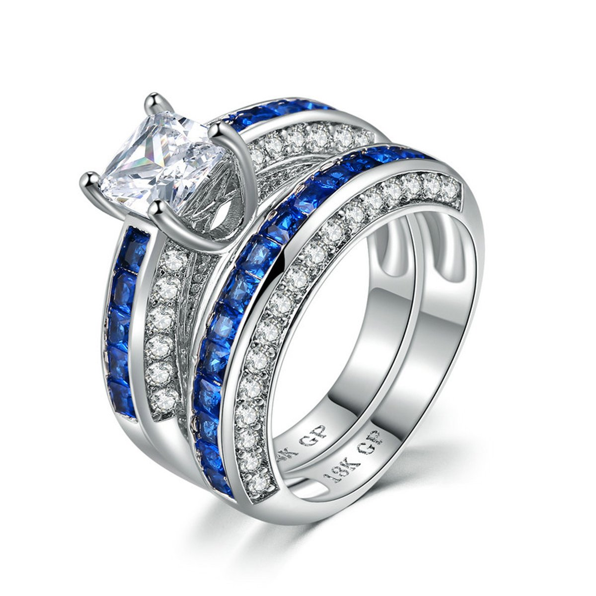 Women 18KGP Princess Cut CZ Blue Sapphire Wedding Anniversary Engagement Bridal Rings Set (10)