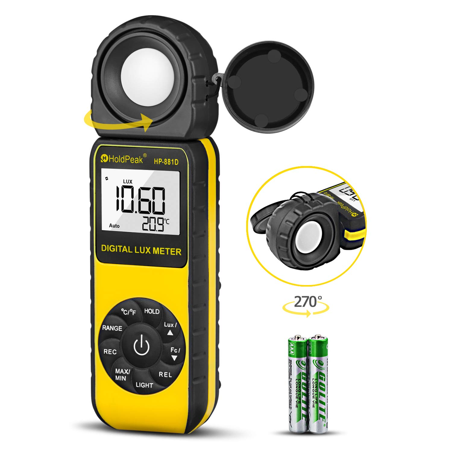 HOLDPEAK 881D Digital Illuminance/Light Meter with 0.01-400,000 Lux(1-40,000 FC) 270 ° Rotate Sensor Head, MAX/MIN,Backlight,Data Hold&Storage,lumens Meter for Plants and led Lights by H HOLDPEAK