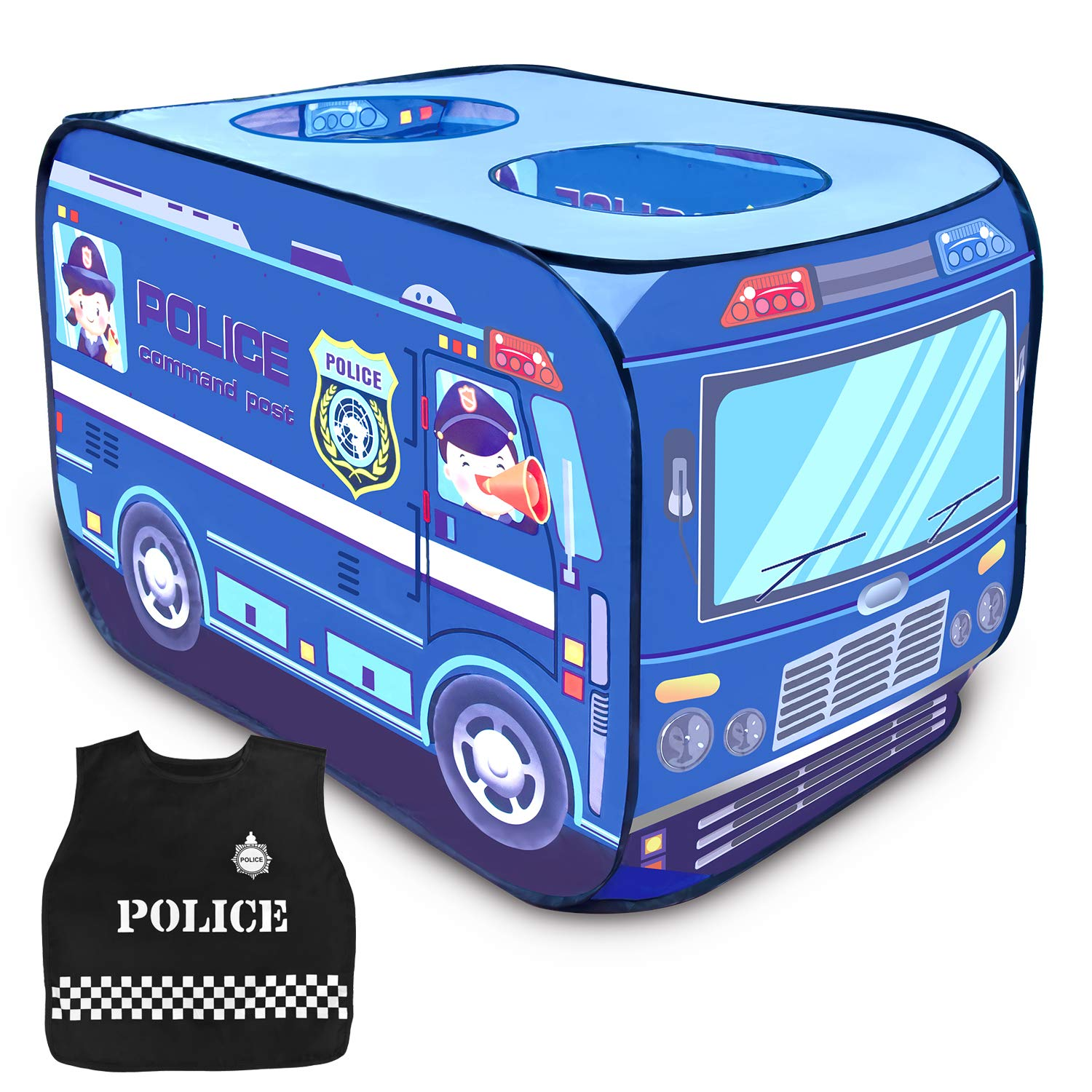Police Toy Car Pop Up Play Tent for Kids with Policeman Costume, Kids Tent for Indoor & Outdoor