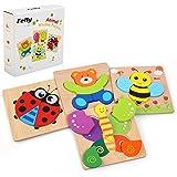 Felly Juguetes Bebes, Puzzles de Madera Educativos para Bebé, Juguetes niños 1 año 2 3 4 5 6 años, Dibujo de Animal…