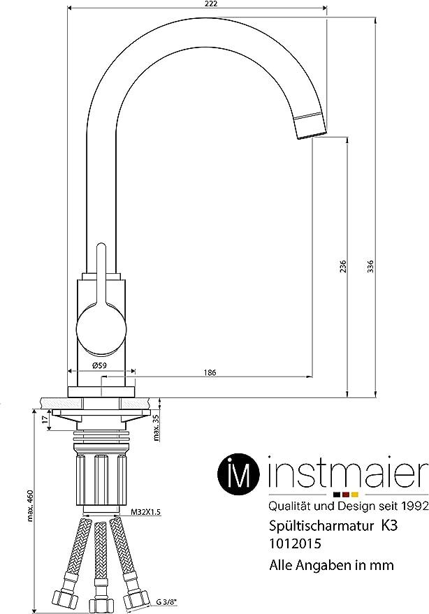 Instmaier K3 - Grifo para fregadero (baja presión, fácil montaje ...