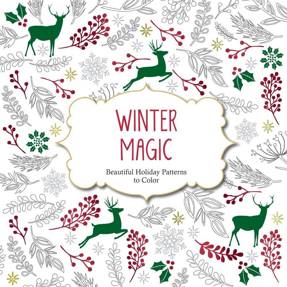 amazoncom winter magic beautiful holiday patterns coloring book for adults color magic 9781438007335 arsedition books