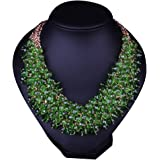 Hamer Women's Green Bib Choker Statement Necklace Gold Plated Chain Pendant Jewelry for Women Party Use