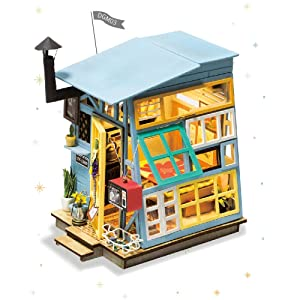 Rolife Miniature Dollhouse-DIY Wooden House Kit-3D House Puzzle Model-Creative Room Decorations with Furniture and LED-Best Birthday