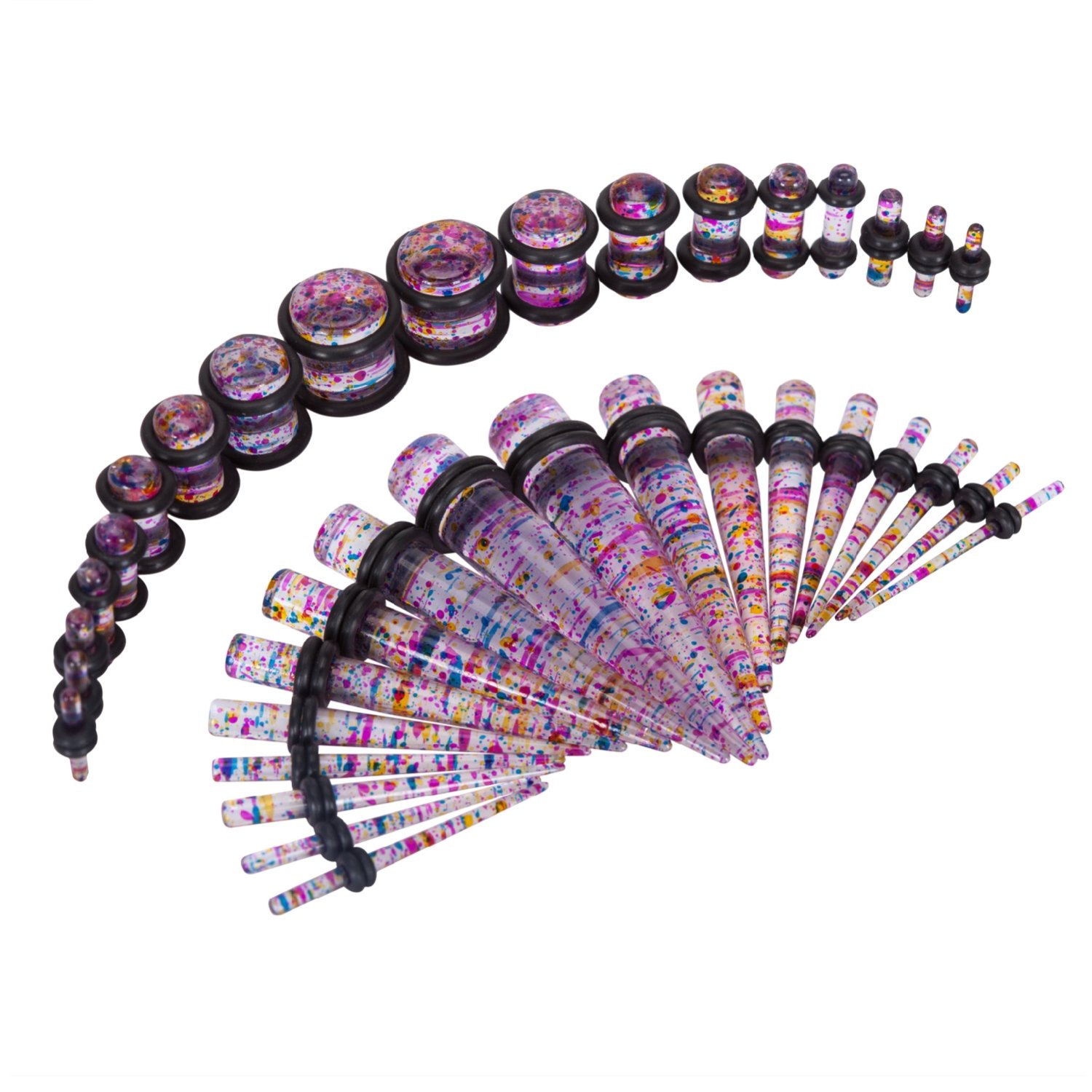 36 Pieces Taper Kit Glitter Rainbow Tapers with Glitter Rainbow Plugs Sparkle Stretching Kit - 18 Pairs BodyJ4You GK0176-RB