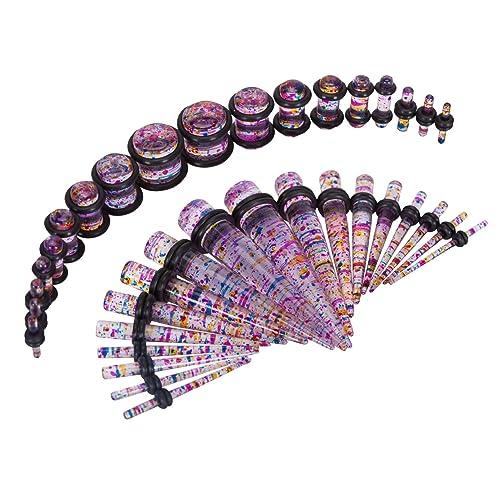 Juego de 36 piezas para dilataciones de piercing, 14G a 00G, con purpurina acrílica: Amazon.es: Joyería