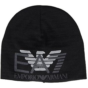 ec1bfaca533 EA7 by Emporio Armani Train Eagle Printed Black Beanie Hat S  Amazon ...