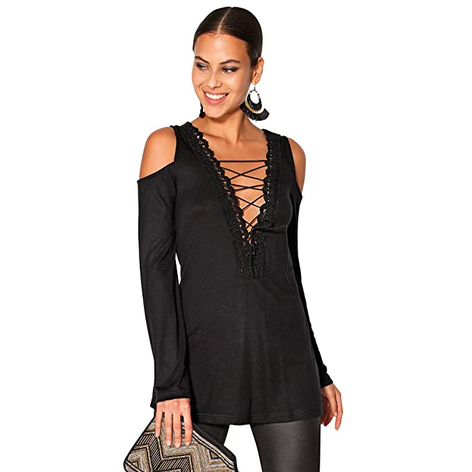 fc5e136cd8c VENCA Camiseta Escote con Encaje y cordón Cruzado Mujer by Vencastyle -  024356: Amazon.es: Ropa y accesorios