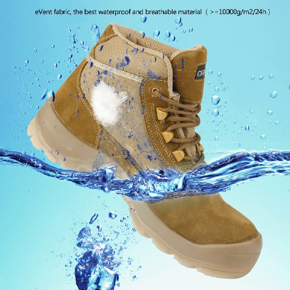 Men's Cowhide Suede Waterproof Outdoor Work Duty Boots Safety Toe Puncture Resistance Outsole Size 10 by ORADAE (Image #4)