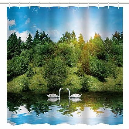 Spring Nature Scene Shower Curtain White Swans Bird Floating On Lake Lush Trees Woodland Blue