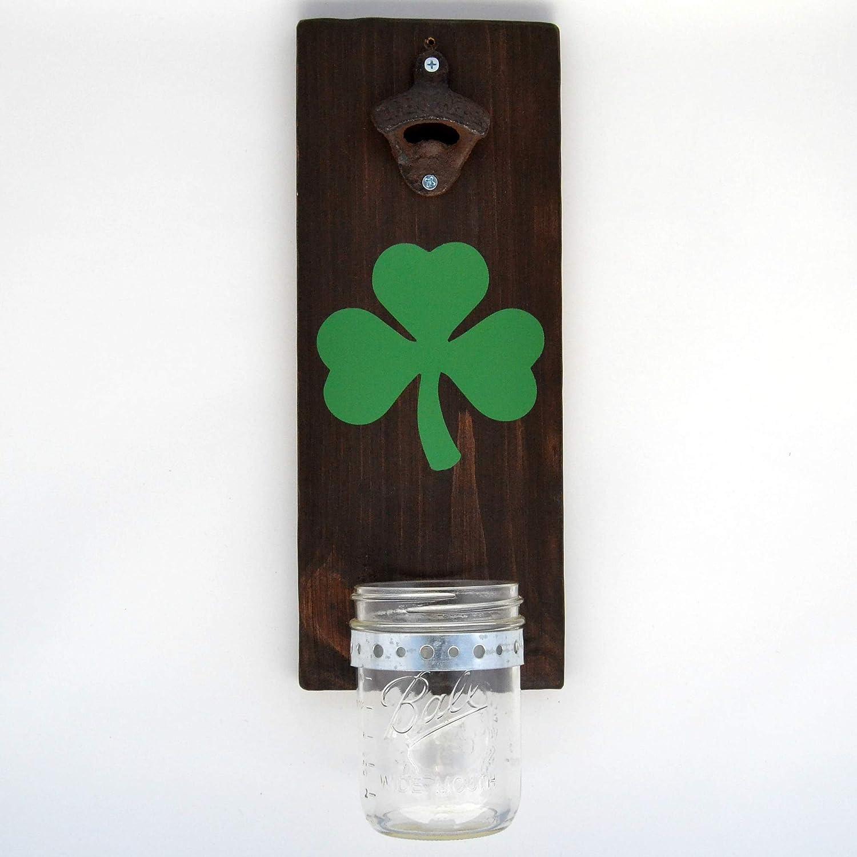 Shamrock Wall Bottle Opener Functional Rustic Wood Decor Beer Bottle Opener Wall Mounted With Mason Jar Cap Catcher Wall Mount Bar Style Irish Bottle Opener