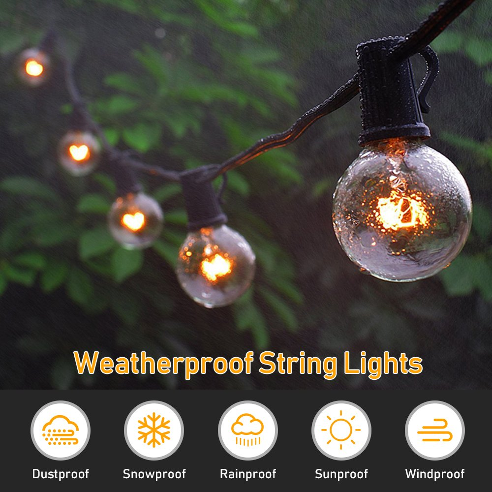 Globe String Lights G40 UL Listed Patio Lights for Indoor Outdoor Commercial Decor 25Ft with 25 Clear Bulbs Outdoor String Lights for Party Wedding Garden Backyard Deck Yard Pergola Gazebo, Black by Upook (Image #3)