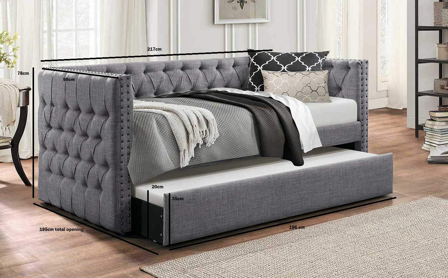 Trundle Bed.Galaxy Market Lucia Chesterfield Day Bed Trundle Bed Sofabed