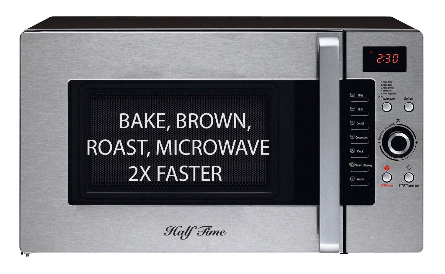 Half Time Convection Microwave Oven, Bake, Brown, Roast in Half the Time, Countertop Stainless Steel/Black. 2 Year Manufacturer