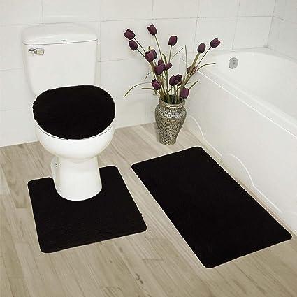 Amazon Com Elegant Home 3 Piece Bathroom Rug Set Bath Rug Contour