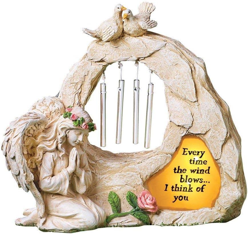 CT DISCOUNT STORE Garden Memorial Angel (Angel Memorial with Wind Chime Garden Figure)