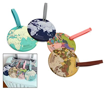 Amazon 4pcs pvc world map name tag travel luggage tags 4pcs pvc world map name tag travel luggage tags suitcase luggage bag id tag world gumiabroncs Image collections