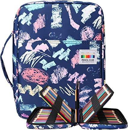 BOMKEE 220 ranuras estuche de lápices de colores, impermeable bolsa para dibujar, pintar, almacenamiento de papelería multicapa bolígrafos de gel organizador(azul alfabeto): Amazon.es: Oficina y papelería