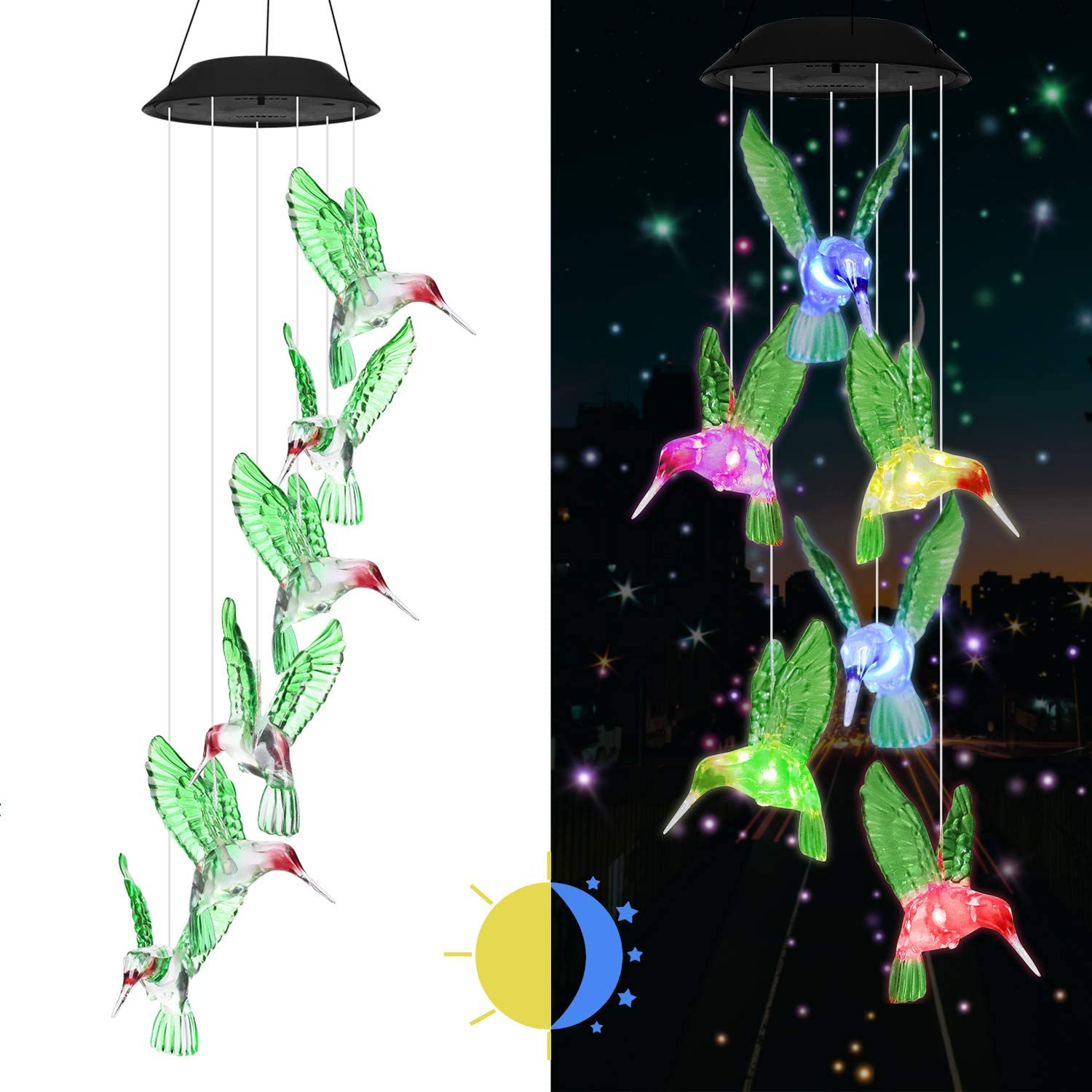eQFeast Solar Hummingbird Wind Chimes, Gifts for Mom, Color-Changing LED Solar Mobile Wind Chime, Waterproof Six Hummingbird Wind Chimes for Home Party Night Garden Decoration, Valentines Gift : Garden & Outdoor