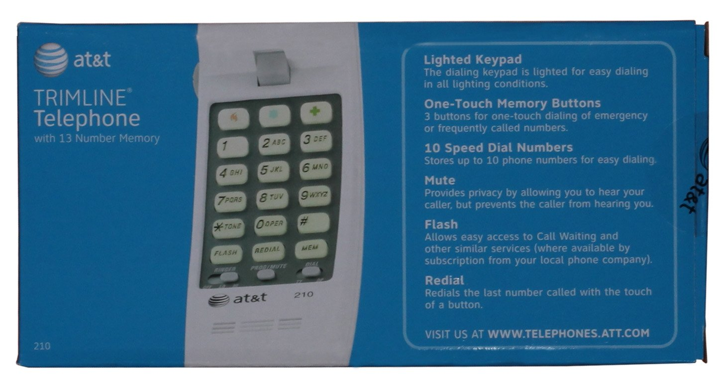 Att 210 Basic Trimline Corded Phone No Ac Power Wiring A Touch Tone Pad To Any Antique Telephone Conversion Required Wall Mountable White Telephones Office Products