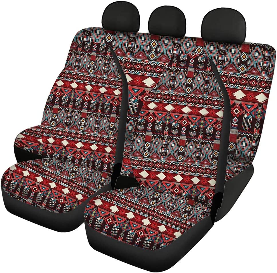 Vans Trucks SUVs Showudesigns American Flag Car Seat Covers Full Set of Front Rear Back Bench Seats Protection Universal Fit Most Vehicles
