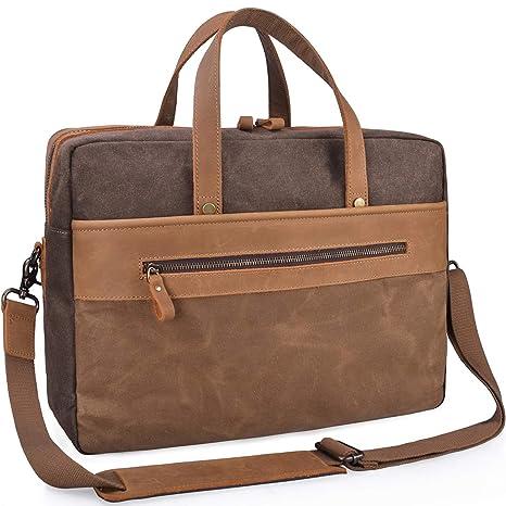 Mens Messenger Bag Waterproof Shoulder Bag 15.6 Inch Laptop Bag Canvas Men Briefcase  Work School Vintage 51910b5f4d02c