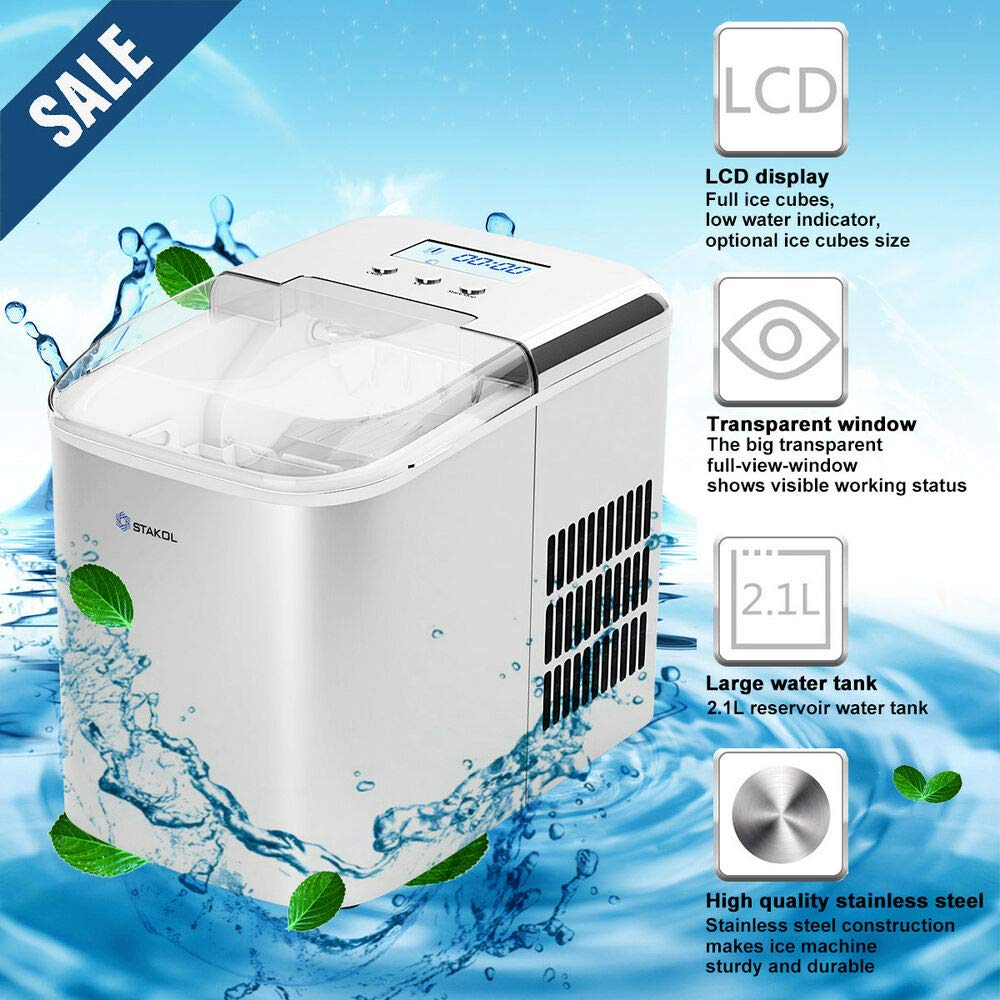 Stainless Steel Ice Maker Countertop 26LBS/24H LCD Display W/Scoop Portable by Generic (Image #4)
