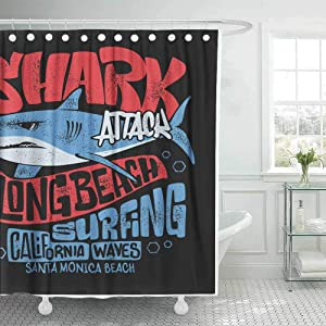 Teepel Country Shower Curtain Fabric Shower Curtain Outhouse Shower Curtain Shark Shirt Surf Print Design 78X72Inch Cool Shower Curtain for Bathroom Decor with Hooks