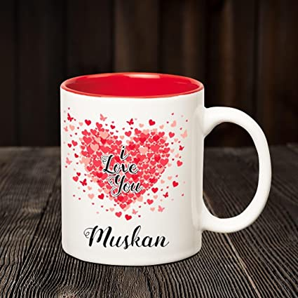 buy huppme i love you muskan personalized inner red name mug online