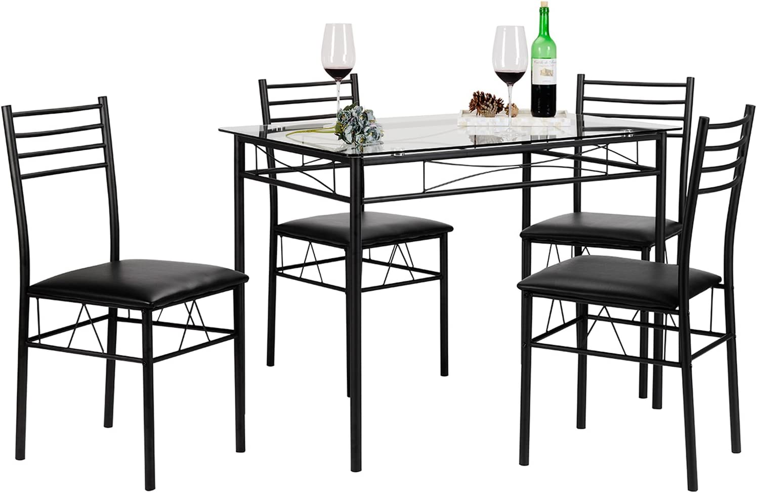 VECELO Dining Table with 4 Chairs Black  sc 1 st  Amazon.com & Table \u0026 Chair Sets | Amazon.com