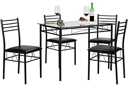 Amazon.com - VECELO Dining Table with 4 Chairs Black - Table & Chair ...