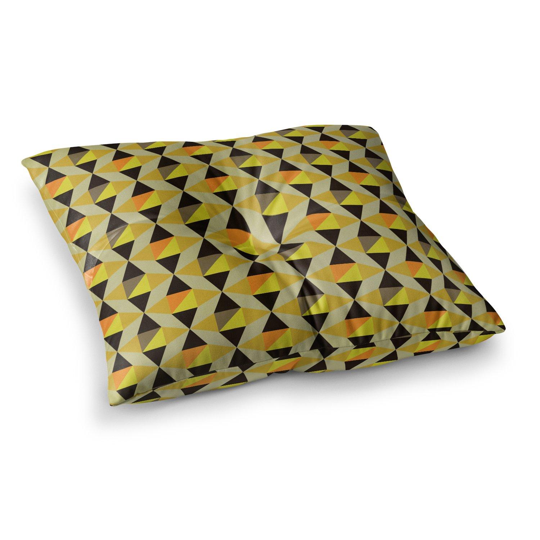 Kess InHouse Louise Machado Onyx Yellow Black 23 x 23 Square Floor Pillow