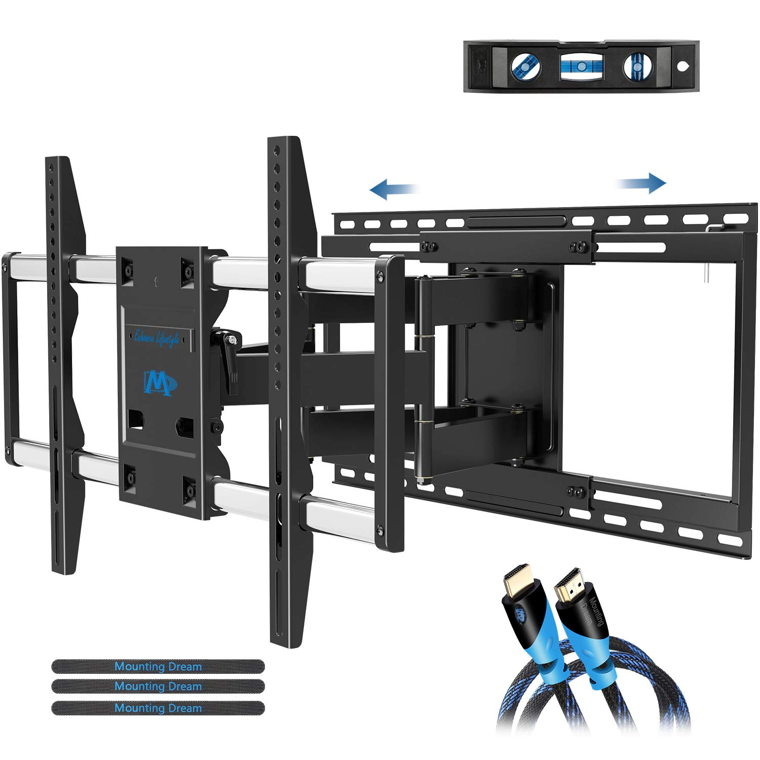 Mounting Dream TV Mount Full Motion with Sliding Design for TV Centering, Articulating TV Wall Mounts TV Bracket for 42-70 Inch TVs - Easy to Install on 16'', 18'' or 24'' Studs - 19'' Extension, MD2198 by Mounting Dream