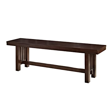 Amazon Com We Furniture Solid Wood Cappuccino Dining Bench Kitchen