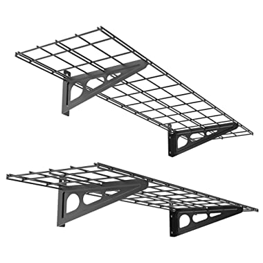 FLEXIMOUNTS 2-Pack 1x4ft 12-inch-by-48-inch Wall Shelf Garage Storage Rack Wall Mounted Floating Shelves, Black