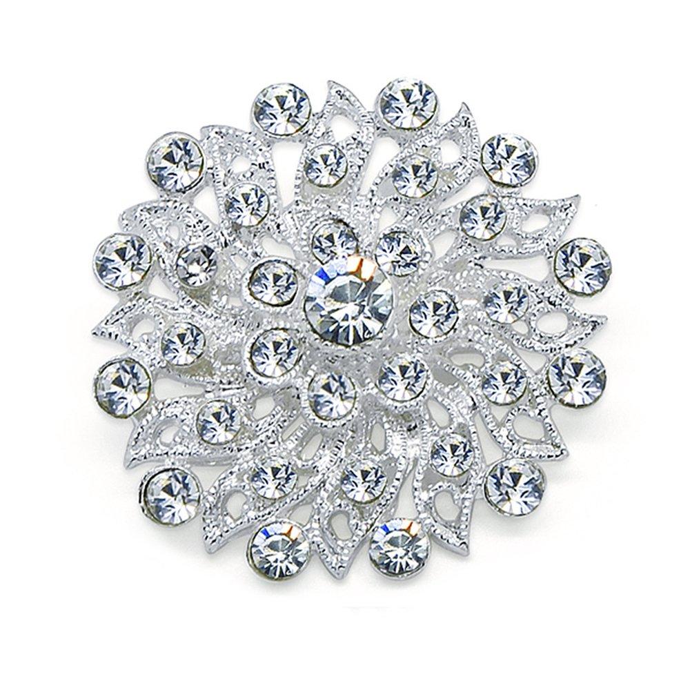 Katie's Style Rhinestone Mini Corsage Filigree Flower Wedding Brooch Pin