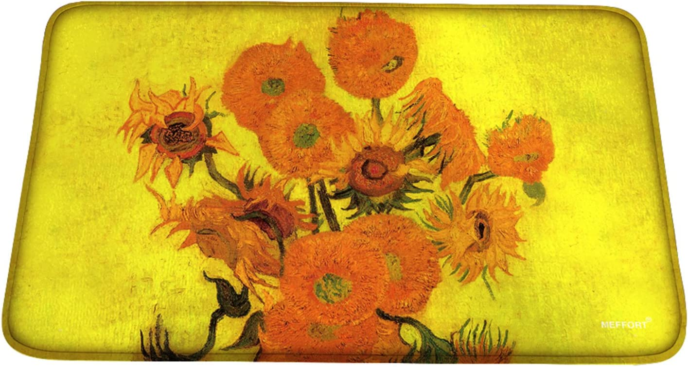 Meffort Inc Printed Soft Floor Door Mat Carpet/Area Entry Rugs for Kitchen Dining Living Hallway Bathroom - Van Gogh Sunflowers, Large Size