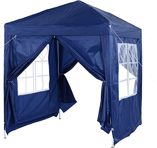 Outsunny 2m x 2m Garden Heavy Duty Pop Up Gazebo Marquee Party Tent Wedding Awning Canopy New With free Carrying Case Blue + Removable 2 Walls 2