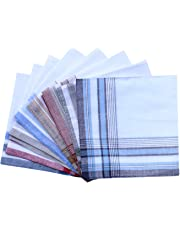 Assorted Pack of Mens White Color Border Cotton Handkerchiefs