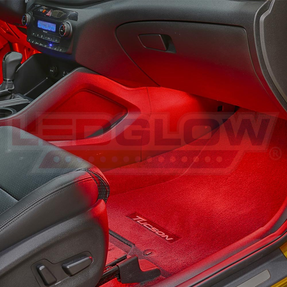 Ledglow 4pc Red Led Car Interior Underdash Lighting Kit 12v Fuse Box Motorcycle Universal Fitment Music Mode Auto Illumination Bypass Automotive