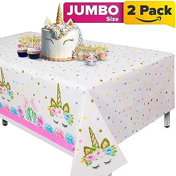 Cubierta de mesa de unicornio de 2 piezas para fiesta de ...